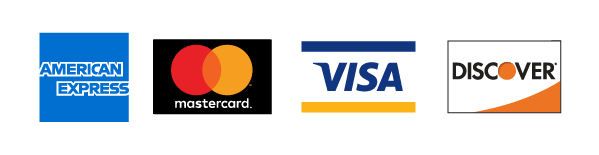 We accept Amex, Mastercard, Visa & Discover